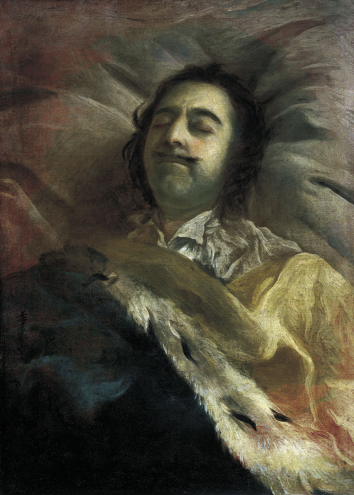 Ivan Nikitich Nikitin. Portrait of Peter I the Great on his deathbed. 1725. Russian Museum