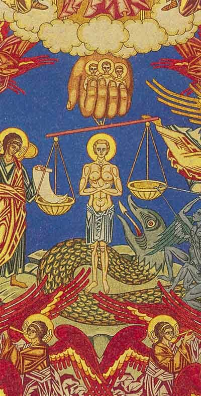 "Ivan Yakovlevich Bilibin. The detail of the sketch of ""Last Judgement"" fresco in Dormition Church in Prague"