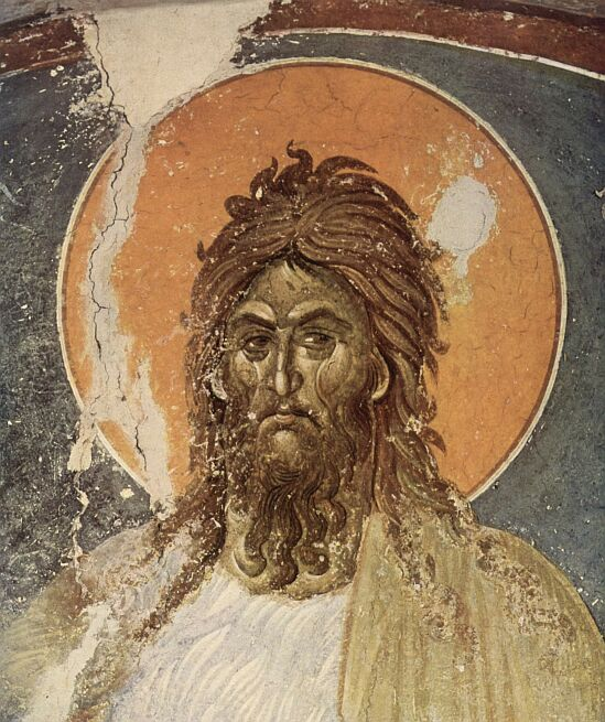 John the Baptist. Fresco of the Grachanica monastery in Serbia (Kosovo).