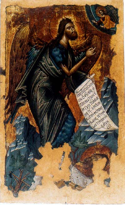 John the Baptist Angel of Wildness. Greek icon of Cretan School. XVI century. Sarajevo, Archangel Church (Old Church).